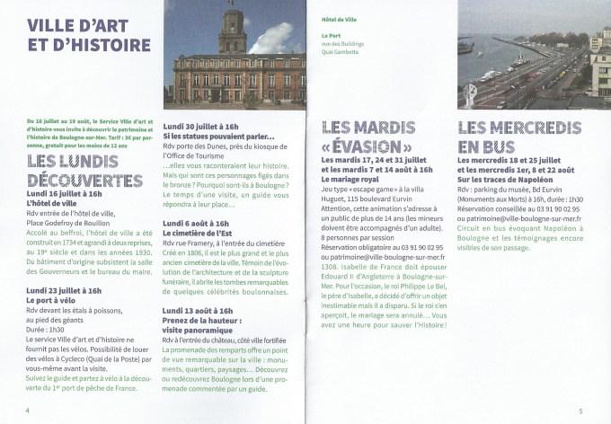 Boulogne sur mer programme été 2018 ville d'art et d'histoire